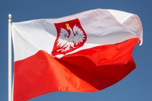 Flag of Poland With Crest, Waving In a Stiff Wind